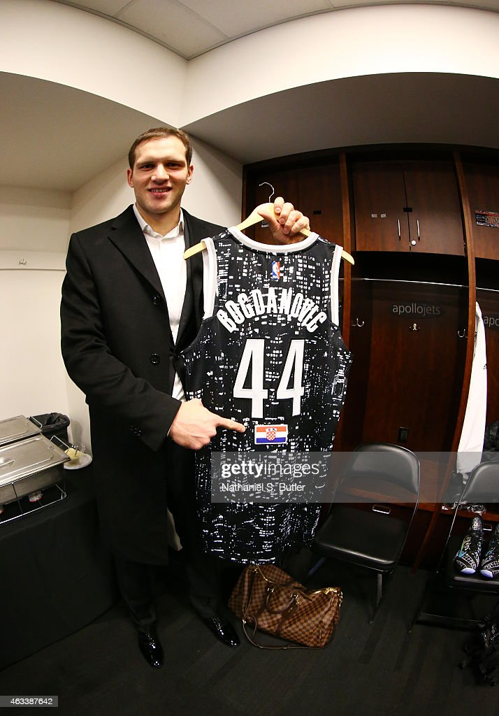 Bojan Bogdanovic #44 of the World Team prior to playing a game against the U.S. Team during the BBVA Compass Rising Stars Challenge as part of 2015 All-Star Weekend on February 13, 2015 at Barclays Center in Brooklyn, New York.