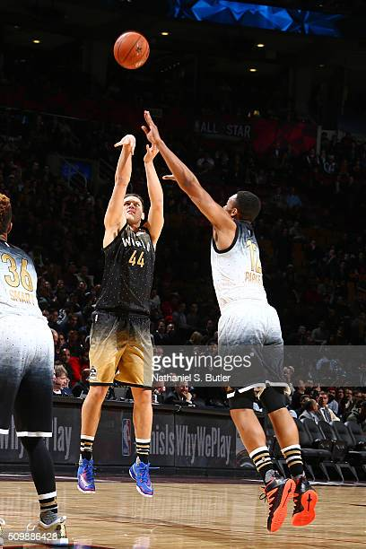 Bojan Bogdanovic of the World Team shoots the ball against the USA Team during the BBVA Compass Rising Stars Challenge as part of NBA AllStar 2016 on...