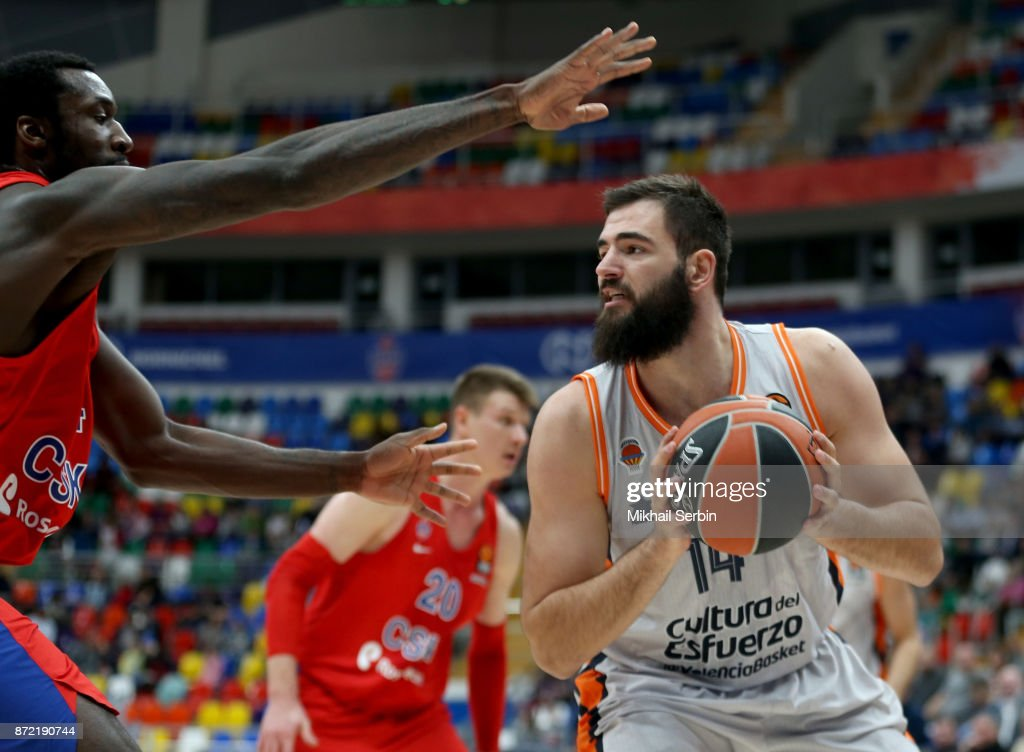 Bojan Dubljevic, #14 of Valencia Basket competes with Othello Hunter, #44 of CSKA Moscow in action during the 2017/2018 Turkish Airlines EuroLeague Regular Season Round 6 game between CSKA Moscow and Valencia Basket at Megasport Arena on November 9, 2017 in Moscow, Russia.