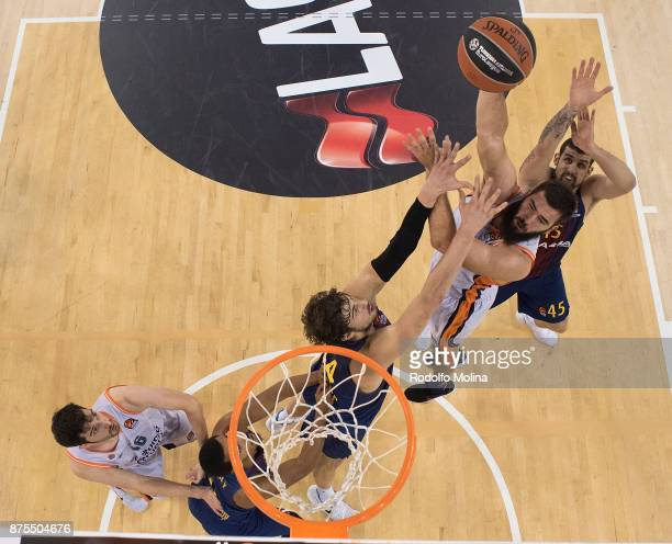 Bojan Dubljevic #14 of Valencia Basket in action during the 2017/2018 Turkish Airlines EuroLeague Regular Season Round 8 game between FC Barcelona...