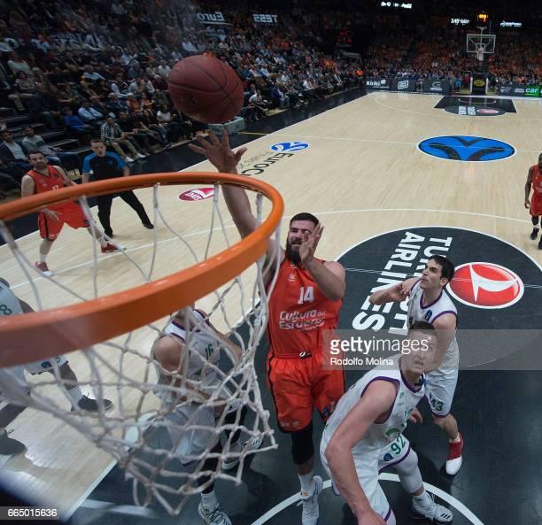 Bojan Dubljevic of Valencia Basket in action during the 20162017 7Days Eurocup Finals Leg 3 Valencia Basket v Unicaja Malaga at Pabellon Fuente de...