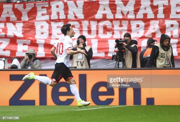 Bojan Krkic of 1 FSV Mainz 05 celebrates his opening goal during the Bundesliga match between Bayern Muenchen and 1 FSV Mainz 05 at Allianz Arena on...