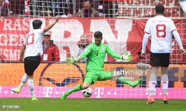 Bojan Krkic of 1 FSV Mainz 05 scores the opening goal during the Bundesliga match between Bayern Muenchen and 1 FSV Mainz 05 at Allianz Arena on...