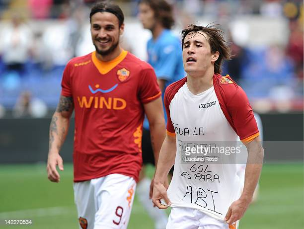 Bojan Krkic of AS Roma celebrates after scoring his team's fourth goal during the Serie A match between AS Roma and Novara Calcio at Stadio Olimpico...
