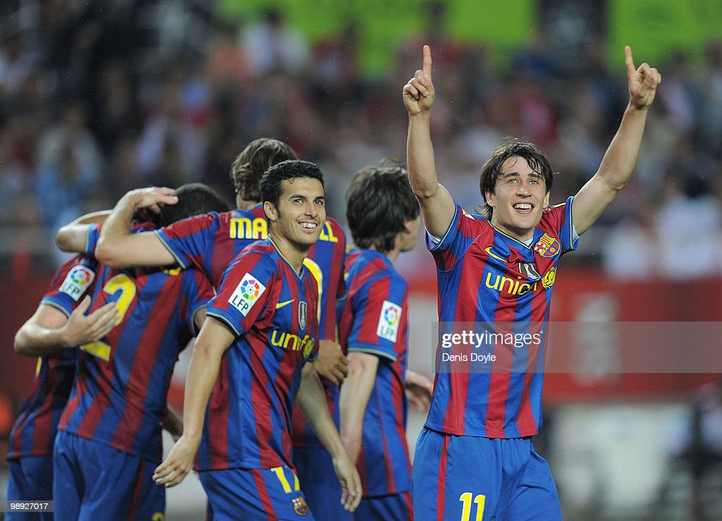 <a gi-track='captionPersonalityLinkClicked' href=/galleries/search?phrase=Bojan+Krkic&family=editorial&specificpeople=4285657 ng-click='$event.stopPropagation()'>Bojan Krkic</a> of Barcelona celebrates after scoring his team's second goal during the La Liga match between Sevilla and Barcelona at Estadio Ramon Sanchez Pizjuan on May 8, 2010 in Seville, Spain.