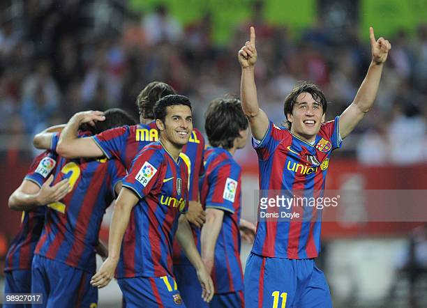 Bojan Krkic of Barcelona celebrates after scoring his team's second goal during the La Liga match between Sevilla and Barcelona at Estadio Ramon...