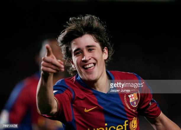 Bojan Krkic of Barcelona celebrates his goal during the La Liga match between Barcelona and Murcia at the Camp Nou Stadium on January 12 2008 in...