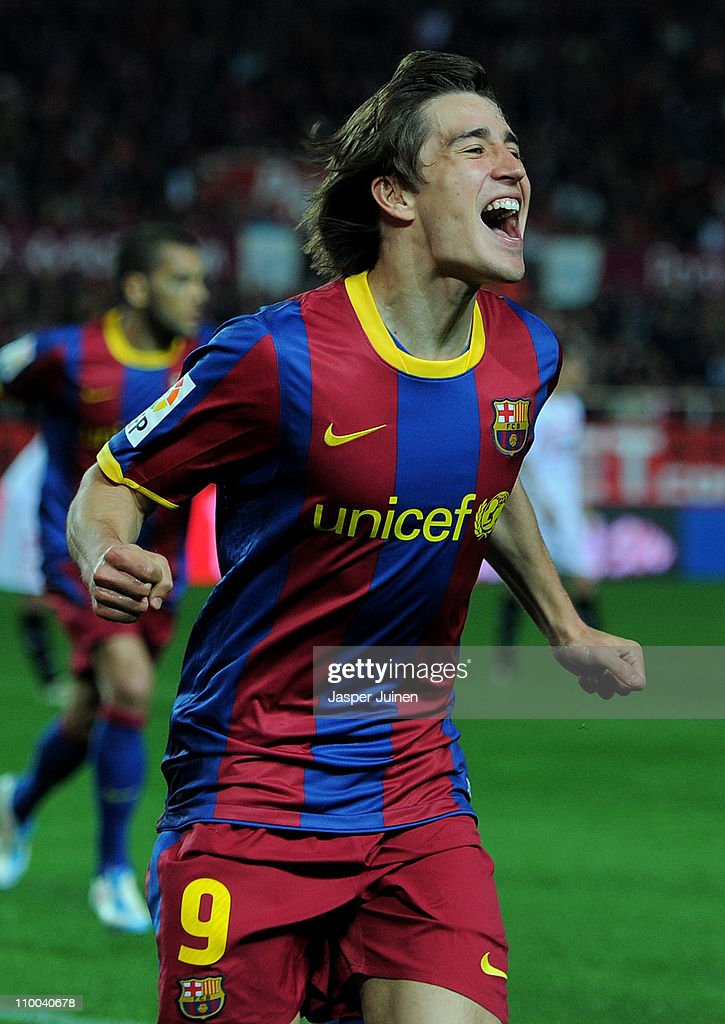 <a gi-track='captionPersonalityLinkClicked' href=/galleries/search?phrase=Bojan+Krkic&family=editorial&specificpeople=4285657 ng-click='$event.stopPropagation()'>Bojan Krkic</a> of Barcelona celebrates scoring his sides opening goal during the la Liga match between Sevilla and Barcelona at Estadio Ramon Sanchez Pizjuan on March 13, 2011 in Seville, Spain.
