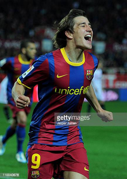 Bojan Krkic of Barcelona celebrates scoring his sides opening goal during the la Liga match between Sevilla and Barcelona at Estadio Ramon Sanchez...
