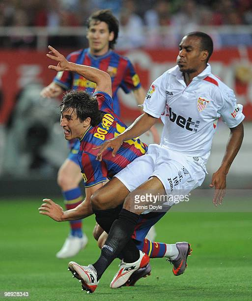Bojan Krkic of Barcelona scores his team's second goal during the La Liga match between Sevilla and Barcelona at Estadio Ramon Sanchez Pizjuan on May...