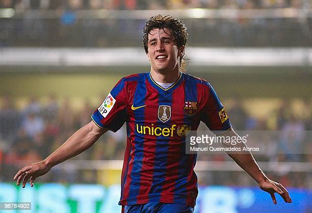 Bojan Krkic of FC Barcelona celebrates after scoring during the La Liga match between Villarreal CF and FC Barcelona at El Madrigal stadium on May 1...