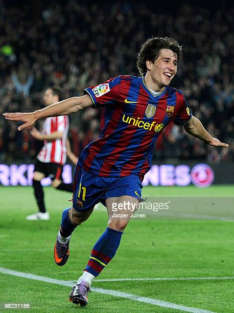 Bojan Krkic of FC Barcelona celebrates scoring his side's second goal during the La Liga match between Barcelona and Athletic Bilbao at the Camp Nou...