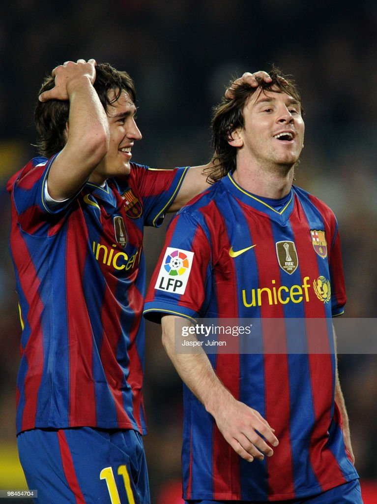 <a gi-track='captionPersonalityLinkClicked' href=/galleries/search?phrase=Bojan+Krkic&family=editorial&specificpeople=4285657 ng-click='$event.stopPropagation()'>Bojan Krkic</a> (L) of FC Barcelona reacts with his teammate <a gi-track='captionPersonalityLinkClicked' href=/galleries/search?phrase=Lionel+Messi&family=editorial&specificpeople=453305 ng-click='$event.stopPropagation()'>Lionel Messi</a> during the La Liga match between Barcelona and Deportivo La Coruna at the Camp Nou stadium on April 14, 2010 in Barcelona, Spain.