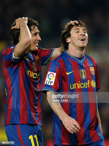 Bojan Krkic of FC Barcelona reacts with his teammate Lionel Messi during the La Liga match between Barcelona and Deportivo La Coruna at the Camp Nou...