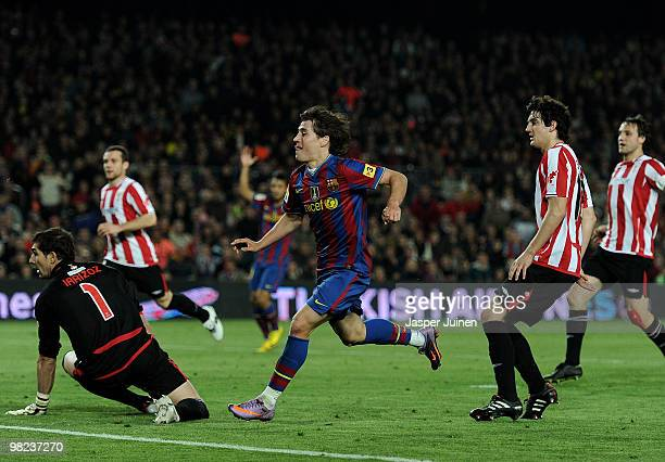 Bojan Krkic of FC Barcelona runs celebrating after scoring his sides second goal in between Mikel San Jose and goalkeeper Sergio Asenjo of Athletic...