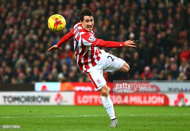 Bojan Krkic of Stoke City attempts a shot on goal during the Capital One Cup semi final first leg match between Stoke City and Liverpool at the...