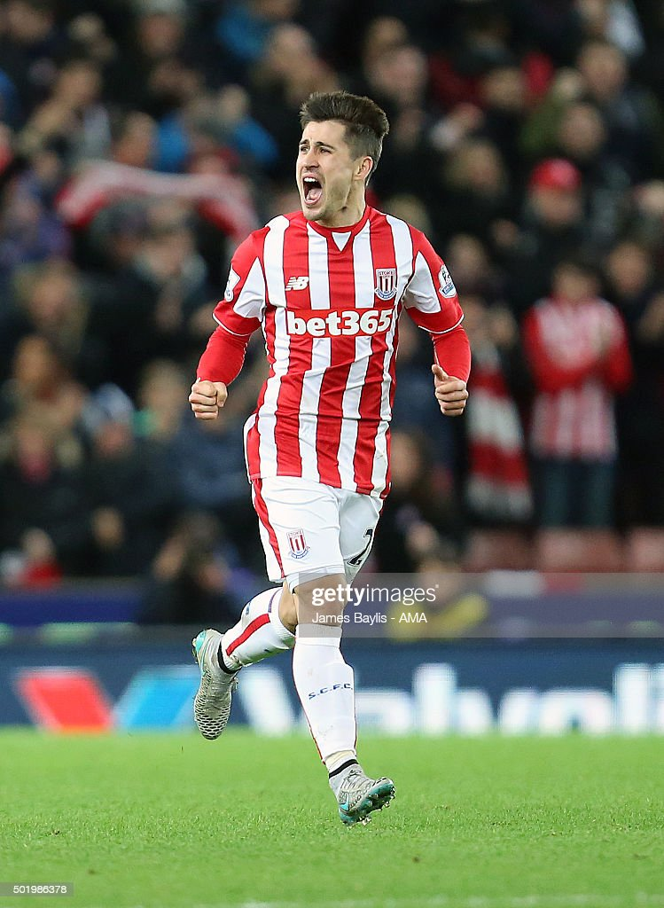 <a gi-track='captionPersonalityLinkClicked' href=/galleries/search?phrase=Bojan+Krkic&family=editorial&specificpeople=4285657 ng-click='$event.stopPropagation()'>Bojan Krkic</a> of Stoke City celebrates after scoring a goal to make it 1-1 during the Barclays Premier League match between Stoke City and Crystal Palace at the Britannia Stadium on December 19, 2015 in Stoke-on-Trent, England.