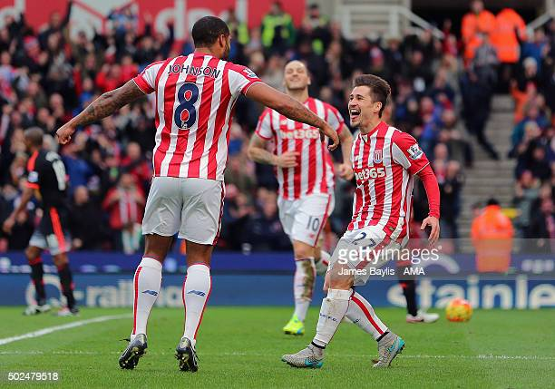 Bojan Krkic of Stoke City celebrates after scoring a goal to make it 10 during the Barclays Premier League match between Stoke City and Manchester...