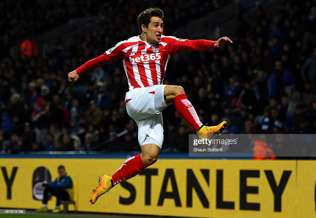 <a gi-track='captionPersonalityLinkClicked' href=/galleries/search?phrase=Bojan+Krkic&family=editorial&specificpeople=4285657 ng-click='$event.stopPropagation()'>Bojan Krkic</a> of Stoke City celebrates after scoring the opening goal during the Barclays Premier League match between Leicester City and Stoke City at The King Power Stadium on January 17, 2015 in Leicester, England.