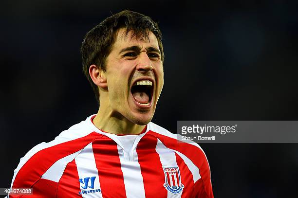 Bojan Krkic of Stoke City celebrates after scoring the opening goal during the Barclays Premier League match between Leicester City and Stoke City at...