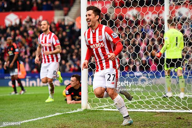 Bojan Krkic of Stoke City celebrates after scoring the opening goal during the Barclays Premier League match between Stoke City and Manchester United...