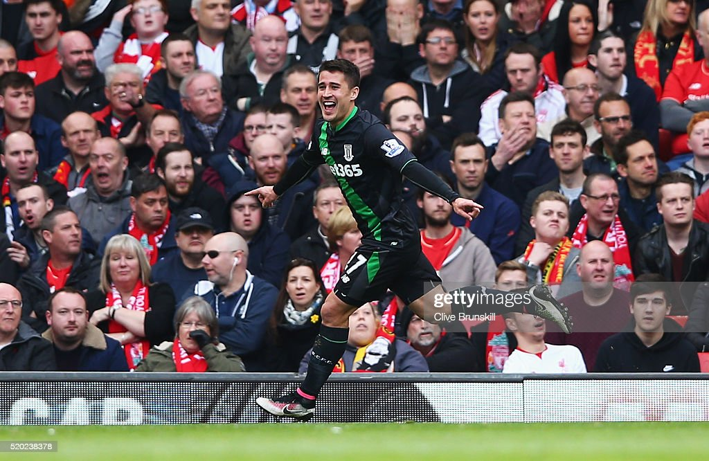 <a gi-track='captionPersonalityLinkClicked' href=/galleries/search?phrase=Bojan+Krkic&family=editorial&specificpeople=4285657 ng-click='$event.stopPropagation()'>Bojan Krkic</a> of Stoke City celebrates as he scores their first and equalising goal during the Barclays Premier League match between Liverpool and Stoke City at Anfield on April 10, 2016 in Liverpool, England.