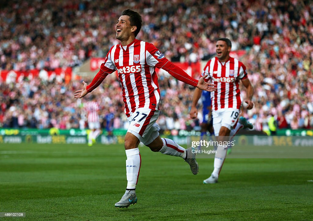 <a gi-track='captionPersonalityLinkClicked' href=/galleries/search?phrase=Bojan+Krkic&family=editorial&specificpeople=4285657 ng-click='$event.stopPropagation()'>Bojan Krkic</a> of Stoke City celebrates scoring his team's first goal during the Barclays Premier League match between Stoke City and Leicester City at Britannia Stadium on September 19, 2015 in Stoke on Trent, United Kingdom.