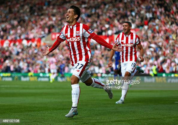 Bojan Krkic of Stoke City celebrates scoring his team's first goal during the Barclays Premier League match between Stoke City and Leicester City at...