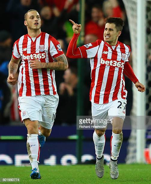 Bojan Krkic of Stoke City celebrates scoring his team's first goal from the penalty spot during the Barclays Premier League match between Stoke City...