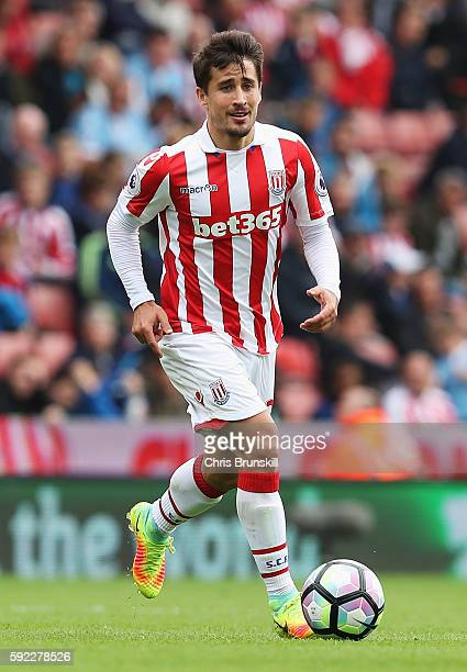 Bojan Krkic of Stoke City in action during the Premier League match between Stoke City and Manchester City at Bet365 Stadium on August 20 2016 in...