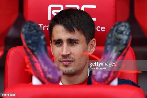 Bojan Krkic of Stoke City looks on while taking his seat on the bench during the Barclays Premier League match between Stoke City and Sunderland on...