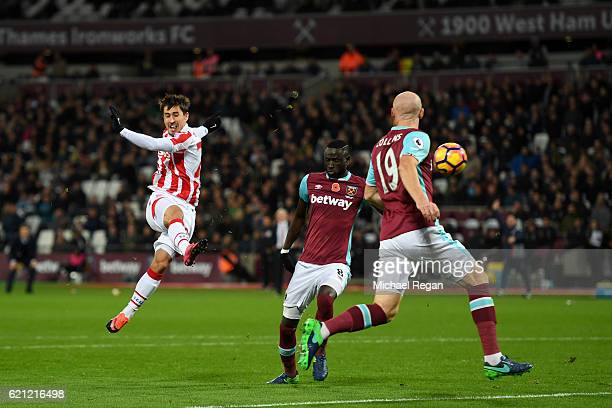 Bojan Krkic of Stoke City scores his sides first goal during the Premier League match between West Ham United and Stoke City at Olympic Stadium on...