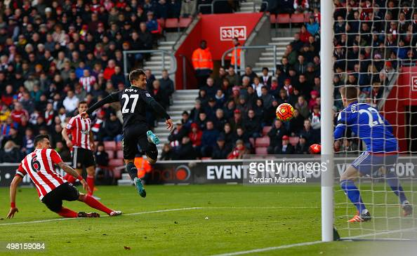 Bojan Krkic of Stoke City scores his team's first goal during the Barclays Premier League match between Southampton and Stoke City at St Mary's...