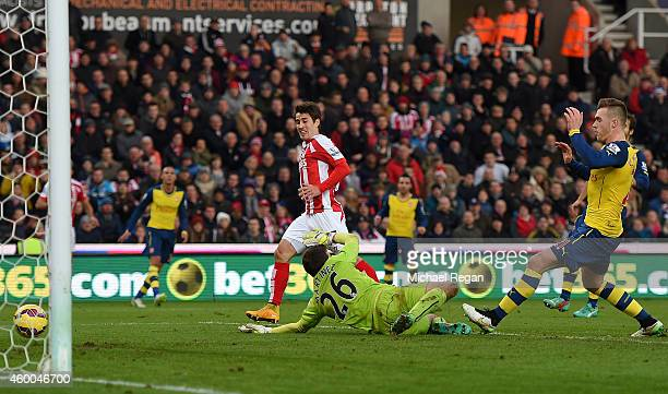 Bojan Krkic of Stoke City scores his team's second goal during the Barclays Premier League match between Stoke City and Arsenal at the Britannia...