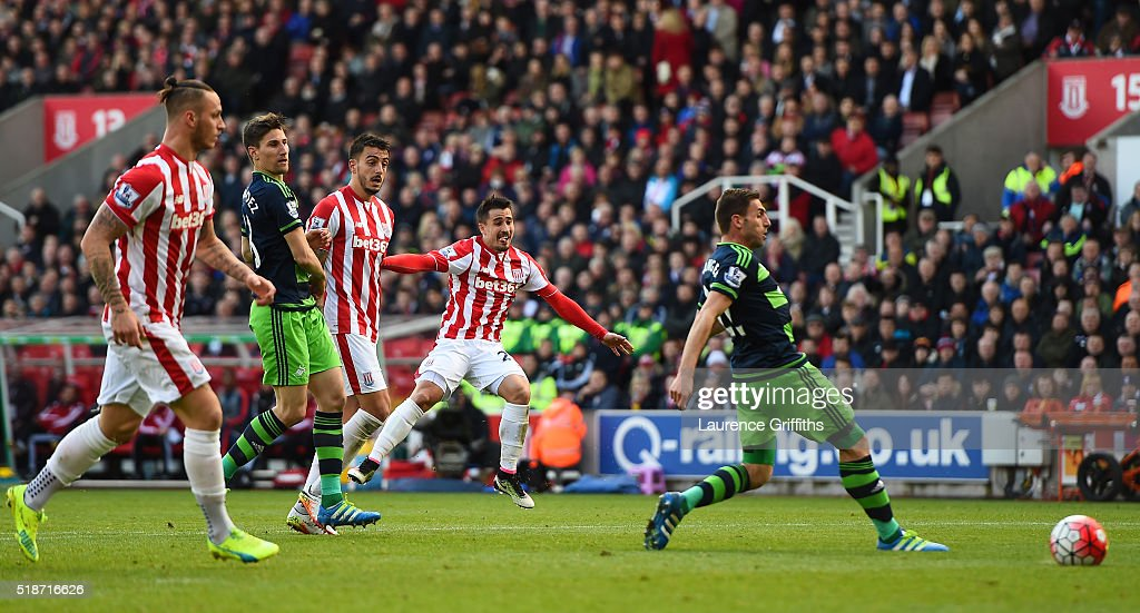 Bojan Krkic of Stoke City scores his team's second goal during the Barclays Premier League match between Stoke City and Swansea City at Britannia Stadium on April 2, 2016 in Stoke on Trent, England.