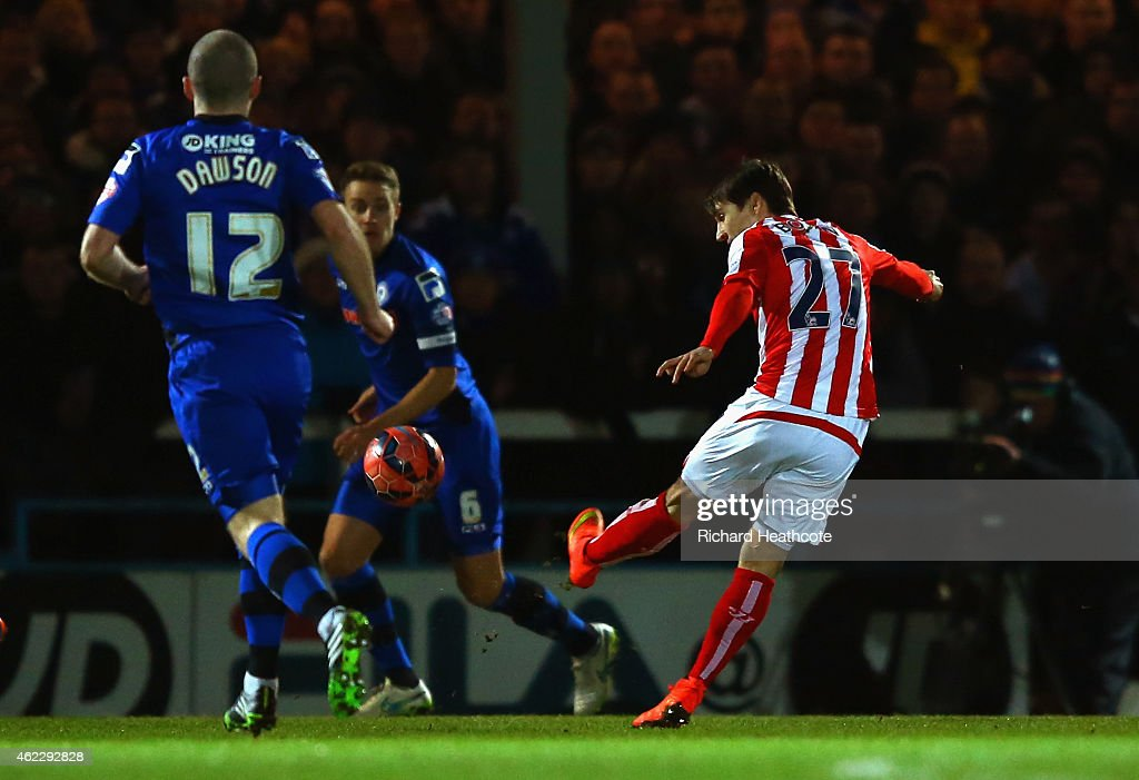 Bojan Krkic of Stoke City scores the opening goal during the FA Cup fourth round match between Rochdale and Stoke City at Spotland Stadium on January...