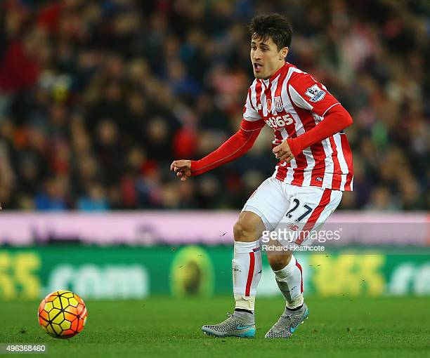 Bojan Krkic of Stoke in action during the Barclays Premier League match between Stoke City and Chelsea at the Britannia Stadium on November 7 2015 in...