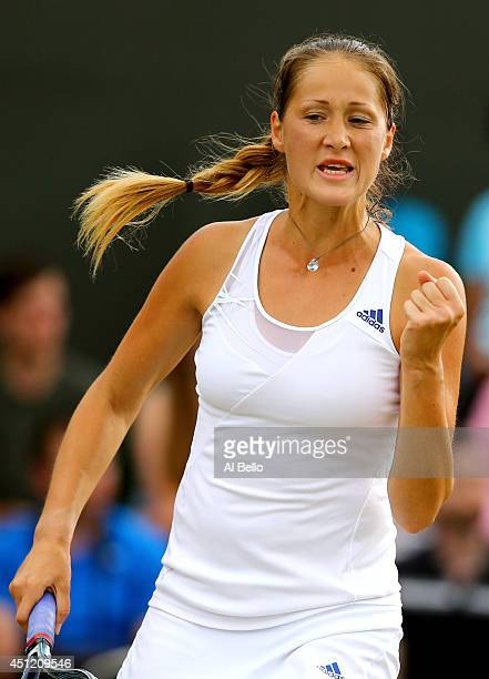 Bojana Jovanovski of Serbia celebrates during her Ladies' Singles second round match against Victoria Azarenka of Belarus on day three of the...