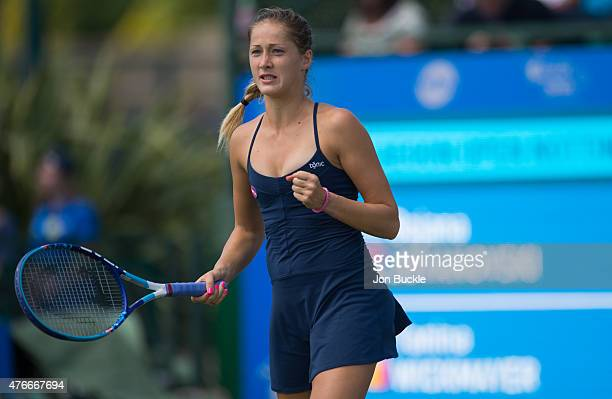 Bojana Jovanovski of Serbia celebrates during her match against Yanina Wickmayer of Belgium on day four of the WTA Aegon Open Nottingham at...