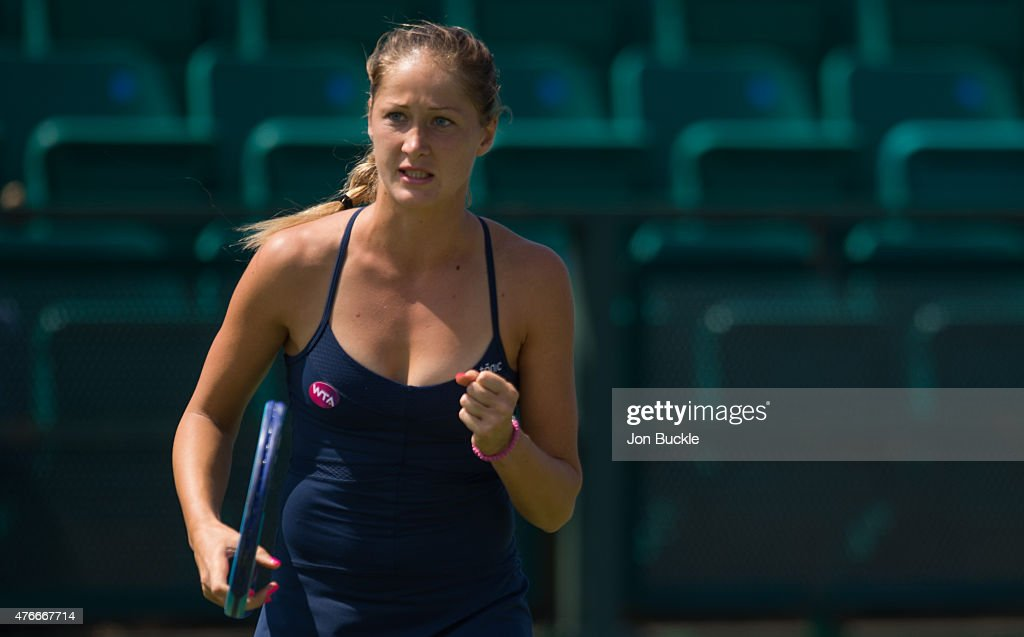 <a gi-track='captionPersonalityLinkClicked' href=/galleries/search?phrase=Bojana+Jovanovski&family=editorial&specificpeople=4836646 ng-click='$event.stopPropagation()'>Bojana Jovanovski</a> of Serbia celebrates during her match against Yanina Wickmayer of Belgium on day four of the WTA Aegon Open Nottingham at Nottingham Tennis Centre on June 11, 2015 in Nottingham, England.