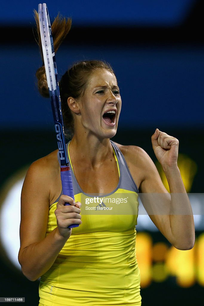 Bojana Jovanovski of Serbia celebrates winning her third round match against Kimiko Date-Krumm of Japan during day six of the 2013 Australian Open at Melbourne Park on January 19, 2013 in Melbourne, Australia.
