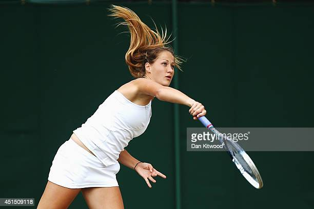 Bojana Jovanovski of Serbia during her Ladies Doubles Seoncd round match with Eva Hrdinova of Czech Republic against AnnaLena Groenefeld and Julia...