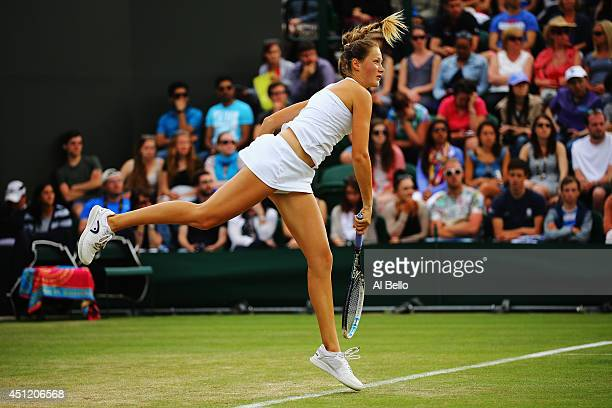 Bojana Jovanovski of Serbia in action during her Ladies' Singles second round match against Victoria Azarenka of Belarus on day three of the...