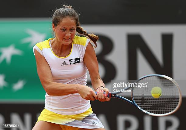 Bojana Jovanovski of Serbia in action during her second round match against Jelena Jankovic of Serbia on day four of the Internazionali BNL d'Italia...