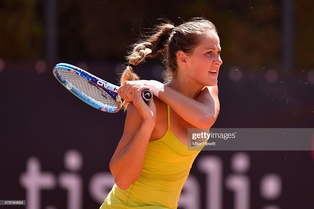 <a gi-track='captionPersonalityLinkClicked' href=/galleries/search?phrase=Bojana+Jovanovski&family=editorial&specificpeople=4836646 ng-click='$event.stopPropagation()'>Bojana Jovanovski</a> of Serbia in action during her victory over Madison Keys of USA in their Second Round match on Day Four of The Internazionali BNL d'Italia 2015 at the Foro Italico on May 13, 2015 in Rome, Italy.