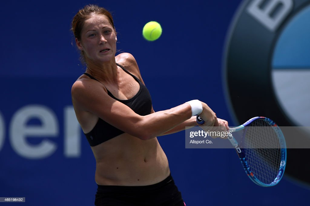 <a gi-track='captionPersonalityLinkClicked' href=/galleries/search?phrase=Bojana+Jovanovski&family=editorial&specificpeople=4836646 ng-click='$event.stopPropagation()'>Bojana Jovanovski</a> of Serbia in action during official practice during day three of the BMW Malaysian Open at the Royal Selangor Golf Club Tennis Court on March 4, 2015 in Kuala Lumpur, Malaysia.