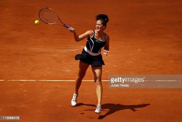 Bojana Jovanovski of Serbia in action in her match against Caroline Wozniacki of Denmark during day four of the Mutua Madrilena Madrid Open Tennis on...
