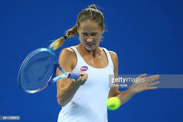Bojana Jovanovski of Serbia plays a forehand in her match against Caroline Wozniacki of Denmark during day two of the 2015 China Open at the China...