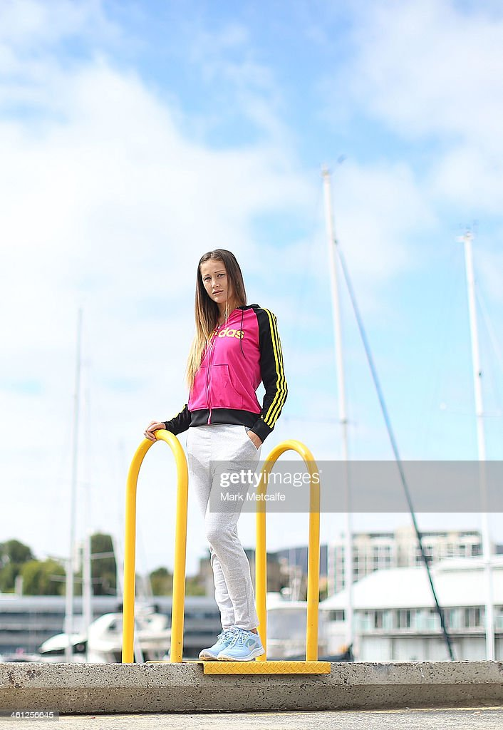 <a gi-track='captionPersonalityLinkClicked' href=/galleries/search?phrase=Bojana+Jovanovski&family=editorial&specificpeople=4836646 ng-click='$event.stopPropagation()'>Bojana Jovanovski</a> of Serbia poses for a portrait at Constitution Dock during day four of the Moorilla Hobart International at Domain Tennis Centre on January 8, 2014 in Hobart, Australia.