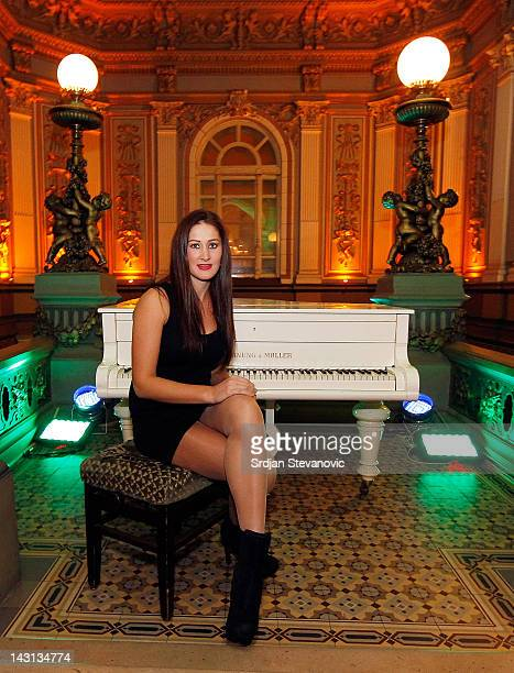 Bojana Jovanovski of Serbia poses for a portrait during the Fed Cup Official dinner during preparations for the semifinal match in the Fed Cup world...